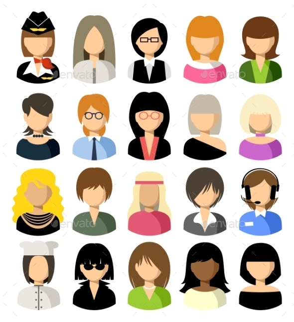 Set Of Flat Icons Set With Women - People Characters