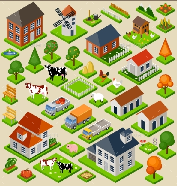Farm Toy Blocks Isometric Set - Landscapes Nature