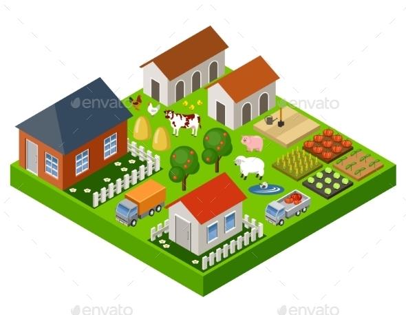 Farm Toy Isometric Block - Landscapes Nature
