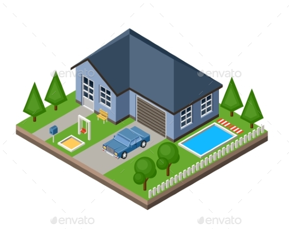 Isolated Isometric Cottage - Buildings Objects