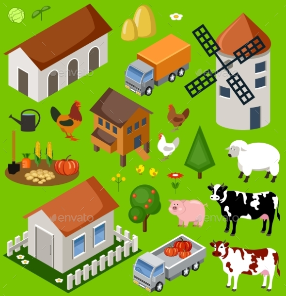 Farm Isometric Set - Landscapes Nature