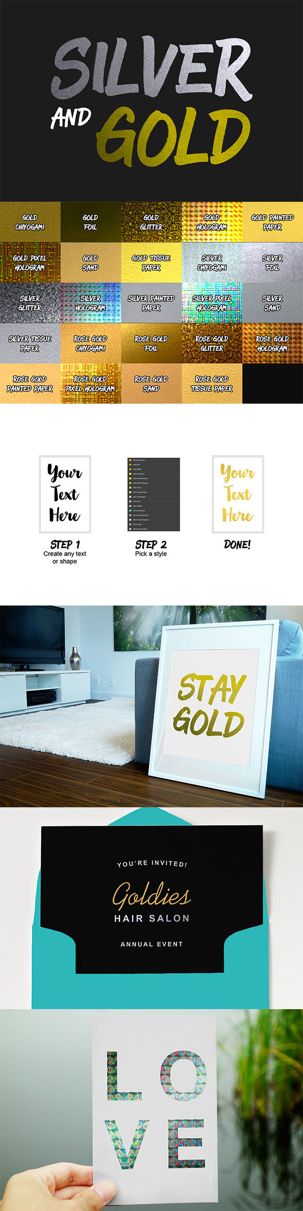 24 Silver and Gold Styles - Styles Photoshop