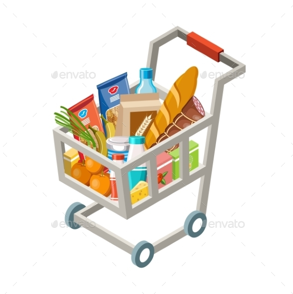 Cart With Products - Food Objects