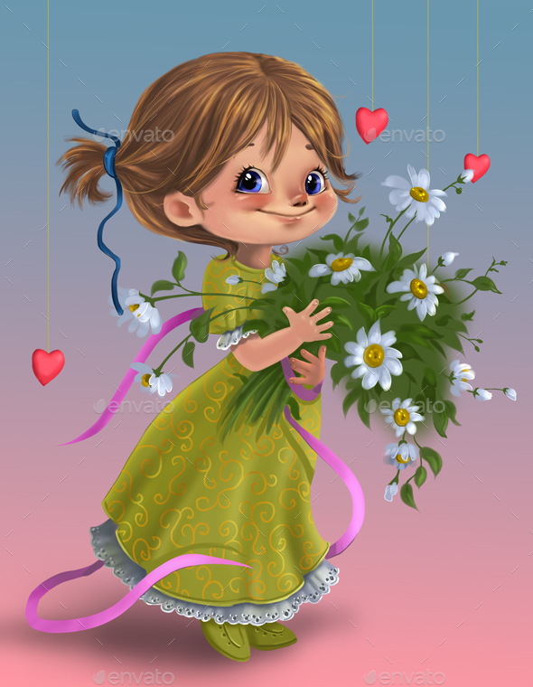 Cute cartoon girl with flowers - Characters Illustrations
