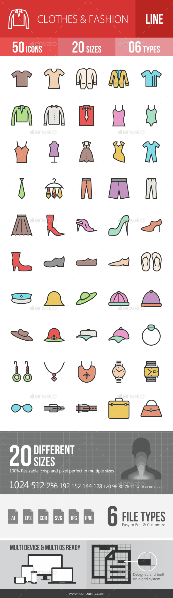 Clothes & Fashion Filled Line Icons - Icons