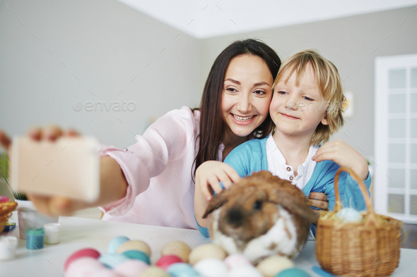 Easter selfie - Stock Photo - Images