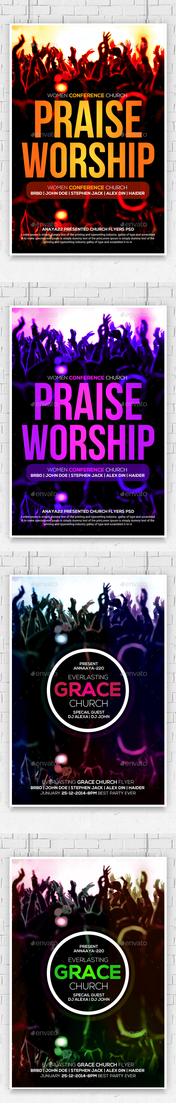 Praise And Worship Church Flyers Bundle - Church Flyers