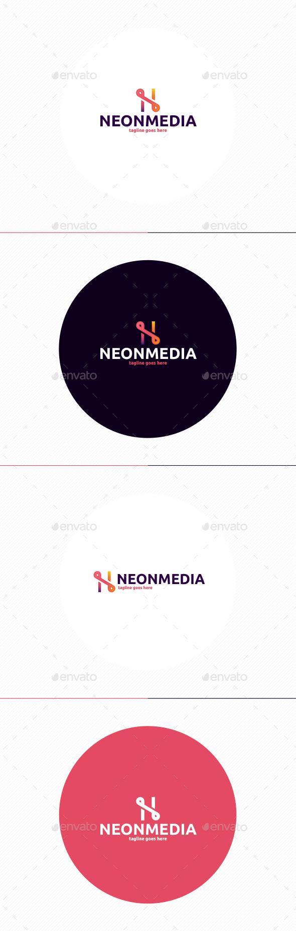 Neon Media Logo • Letter N - Letters Logo Templates