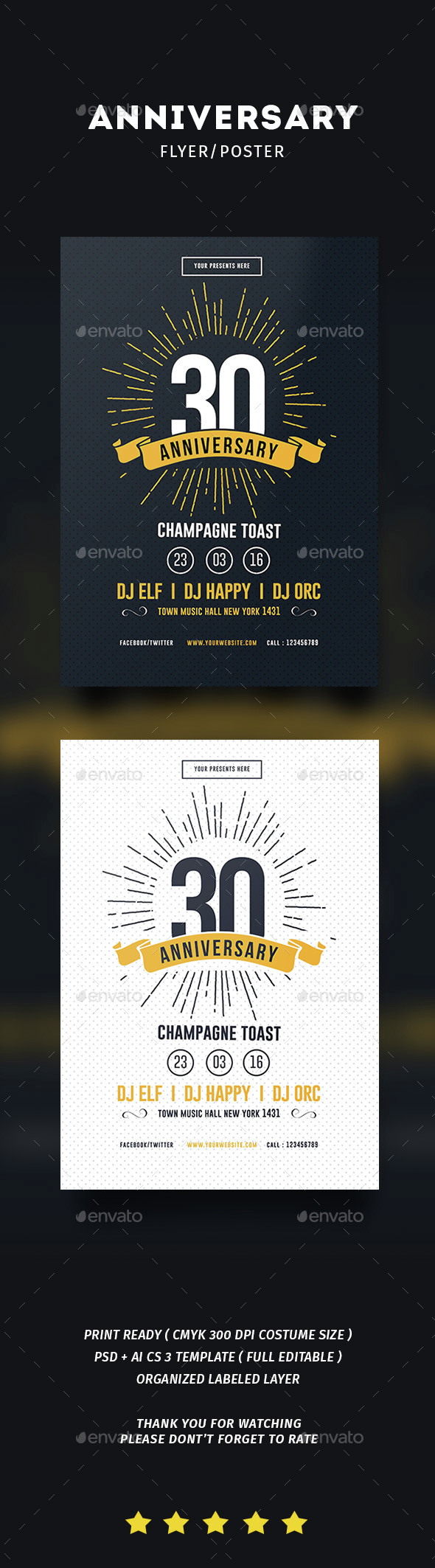 Vintage Anniversary Flyer - Events Flyers