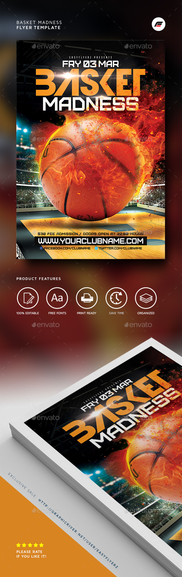 Basket Madness Flyer Template - Sports Events