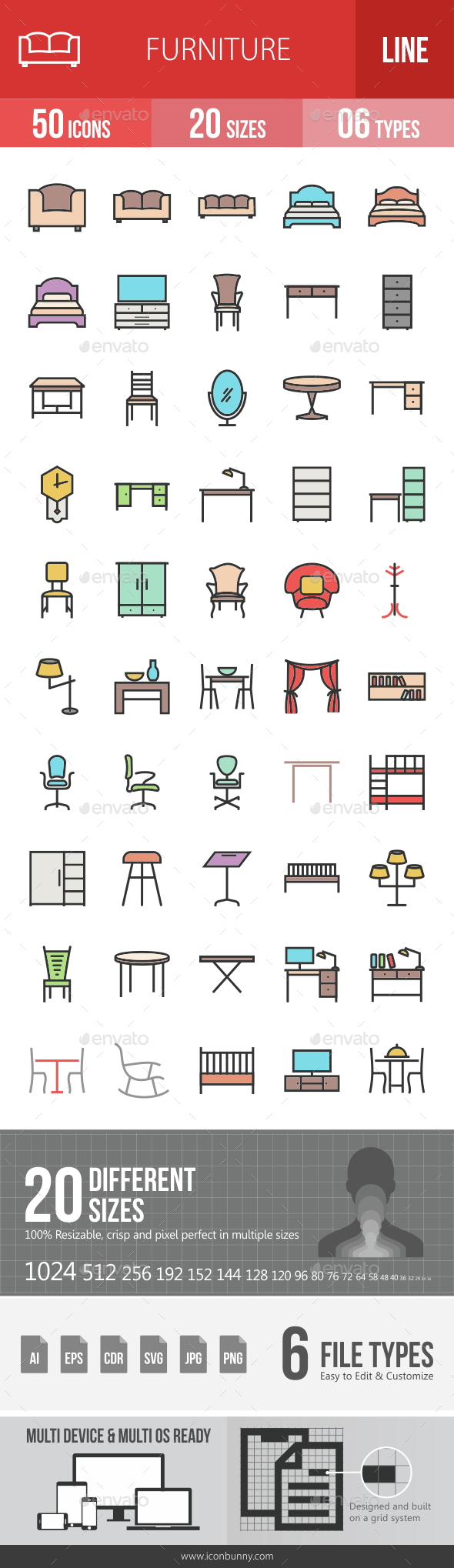 Furniture Filled Line Icons - Icons