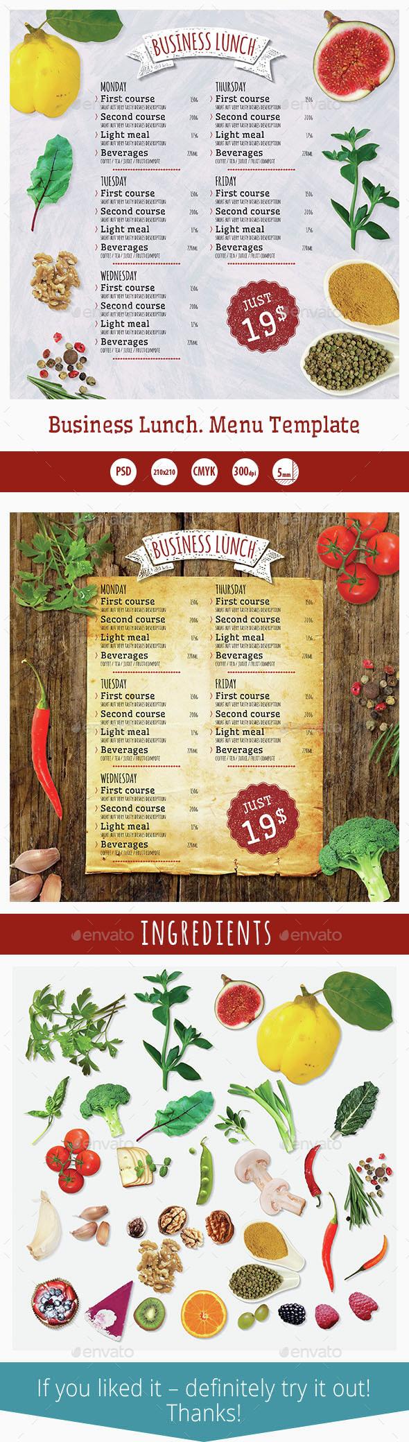 Business Lunch Menu Template - Food Menus Print Templates