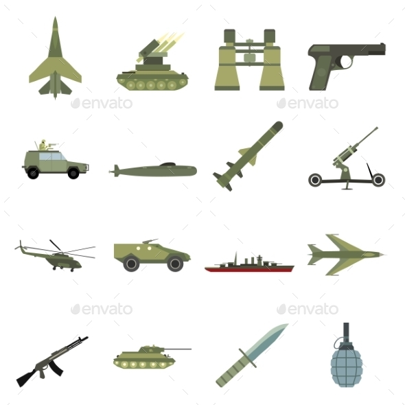 16 Weapon Flat Icons Set  - Miscellaneous Icons