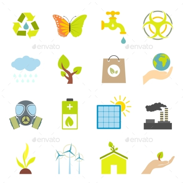 Universal Ecology Flat Icons Set  - Miscellaneous Icons