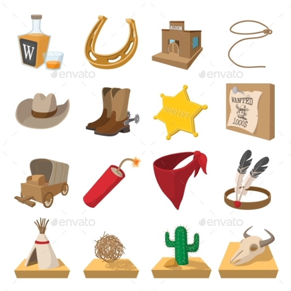 Wild West Cowboy Cartoon Icons  - Miscellaneous Icons