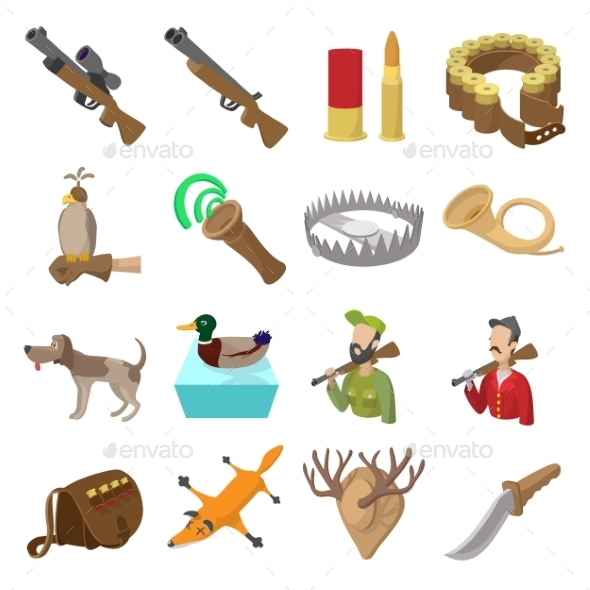 Hunting Cartoon Icons - Miscellaneous Icons