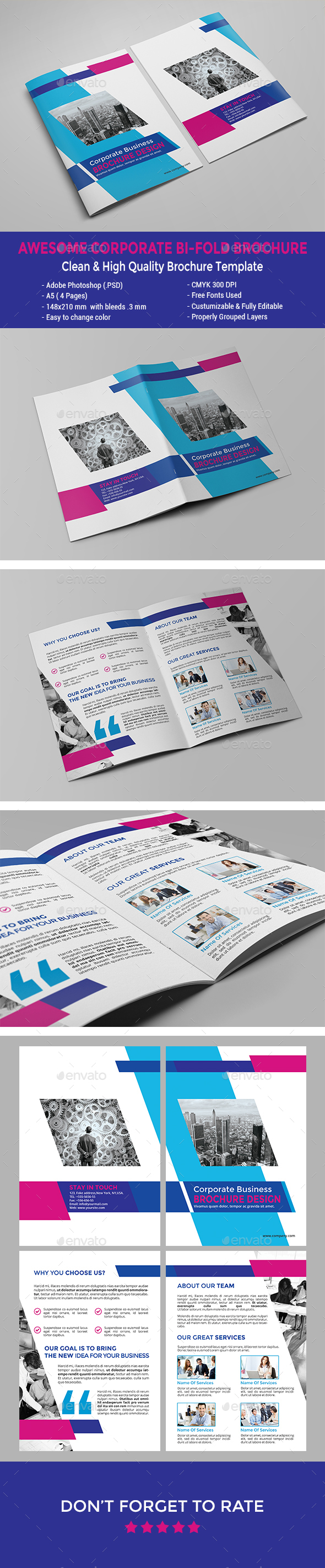 Awesome Corporate Bi-fold Brochure - Corporate Brochures