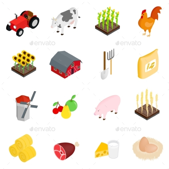 Farm Isometric 3d Icons Set - Miscellaneous Icons