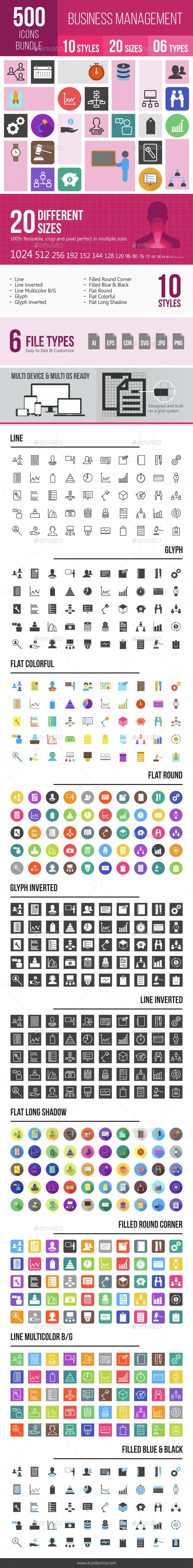 500 Business Management Icons Bundle - Icons