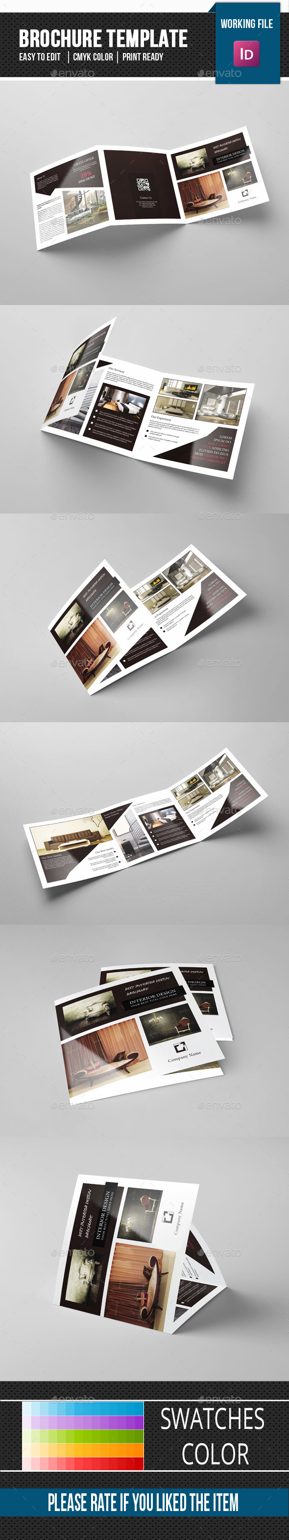 Square Trifold Brochure for Interior Design-V82 - Corporate Brochures