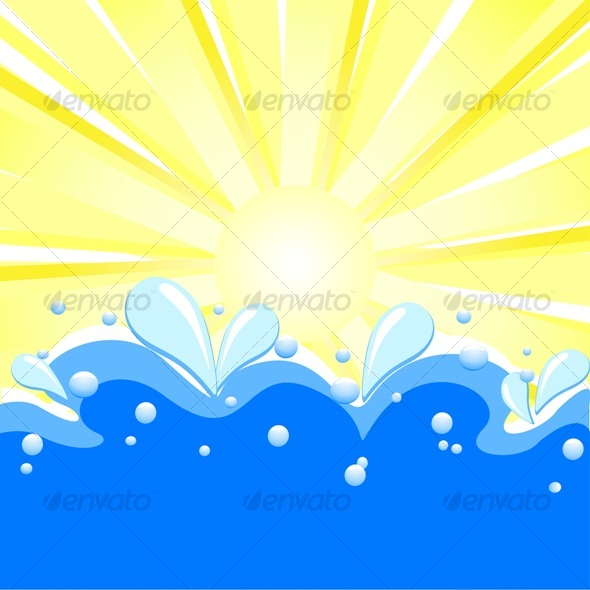 summer background with sun rays, waves - Seasons Nature