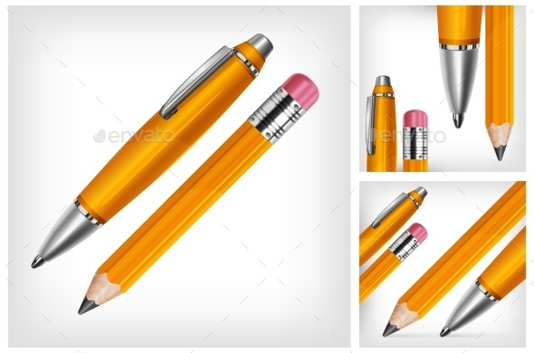 Pen Pencil Isolated Vector Illustration - Man-made Objects Objects