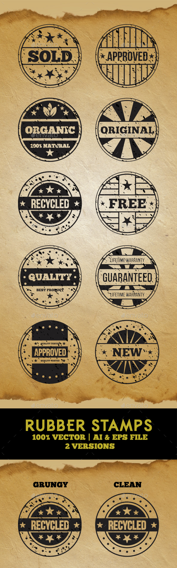 Rubber Stamps - Vector Set - Badges & Stickers Web Elements