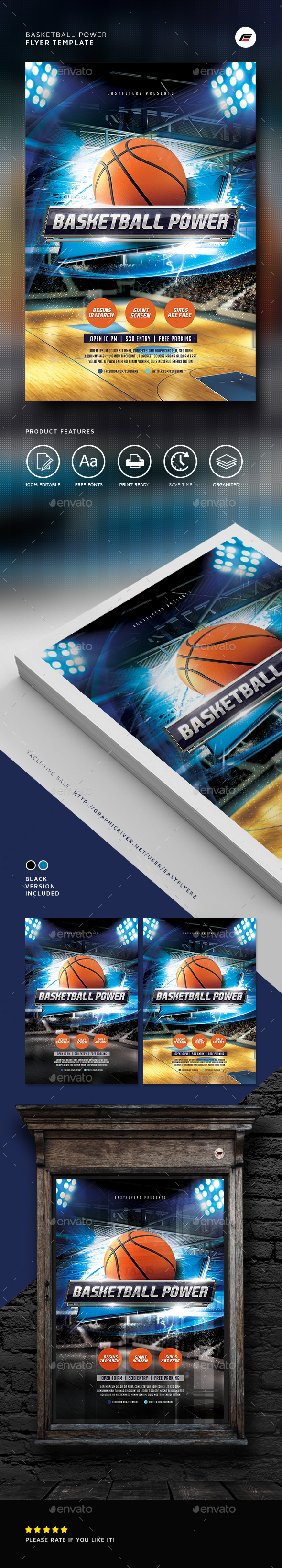 Basketball Power Flyer Template - Sports Events