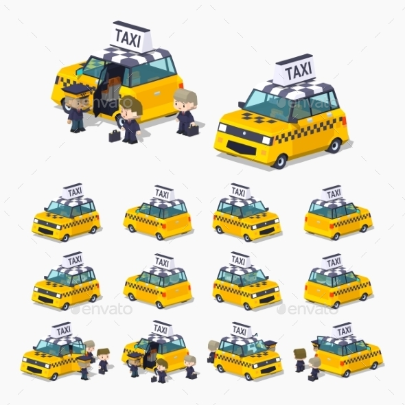 Taxi Hatchback with Passengers - Man-made Objects Objects