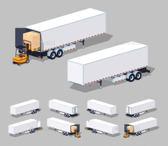 Large White Cargo Trailer Loading Or Unloading - Man-made Objects Objects
