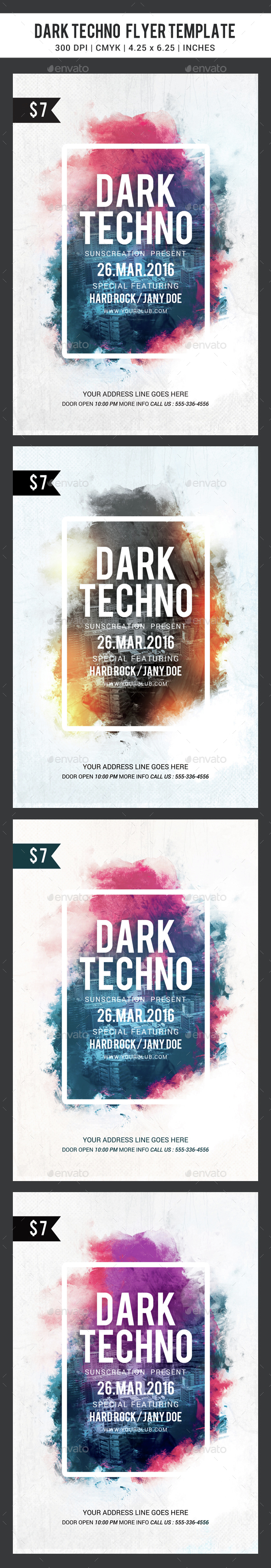 Dark Techno party flyer template - Clubs & Parties Events
