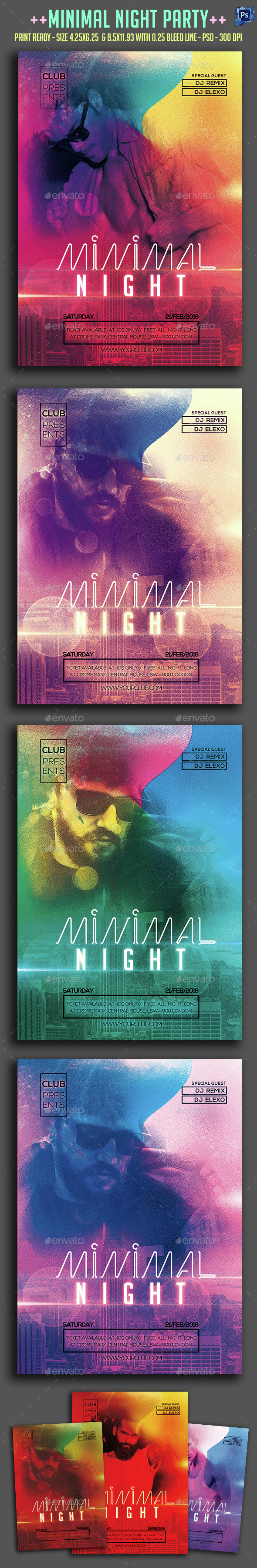 Minimal Night Party Flyer  - Clubs & Parties Events