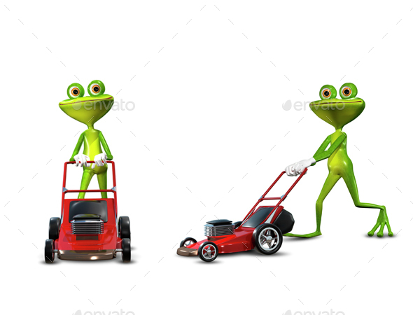 Frog with a frontal mower - Animals Illustrations