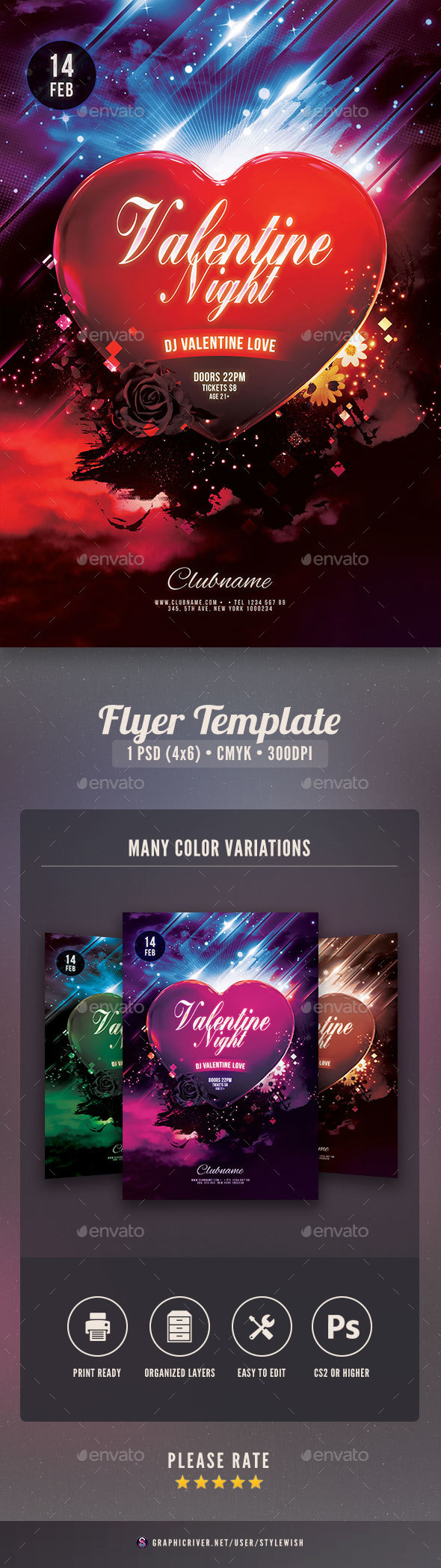 Valentine Night Flyer - Clubs & Parties Events