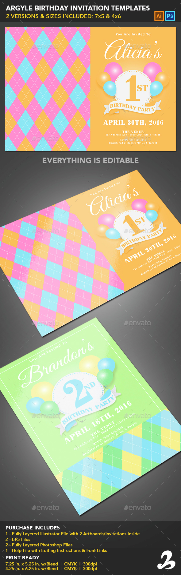 Birthday Invitation Templates - Argyle - Invitations Cards & Invites