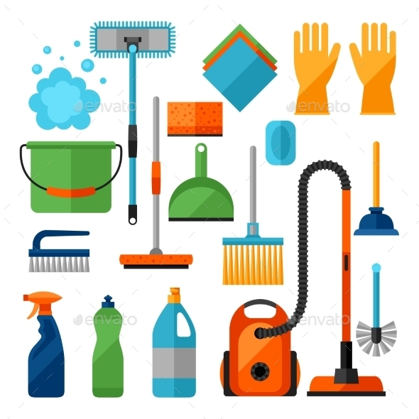 Housekeeping Cleaning Icons Set - Services Commercial / Shopping