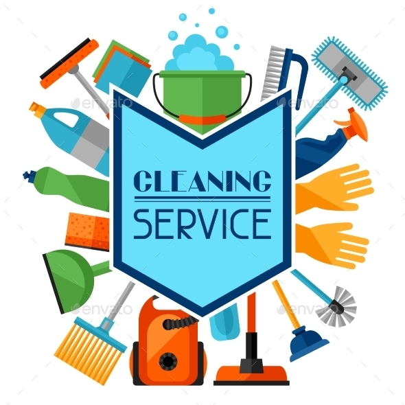 Housekeeping Background with Cleaning Icons - Services Commercial / Shopping