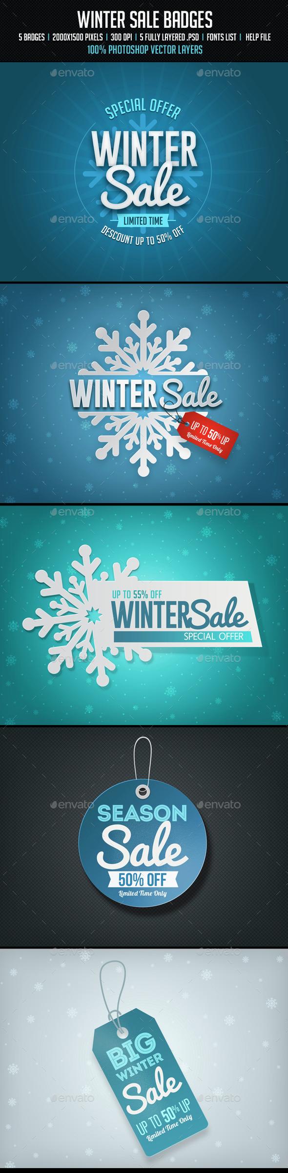 Winter Sale Badges - Badges & Stickers Web Elements