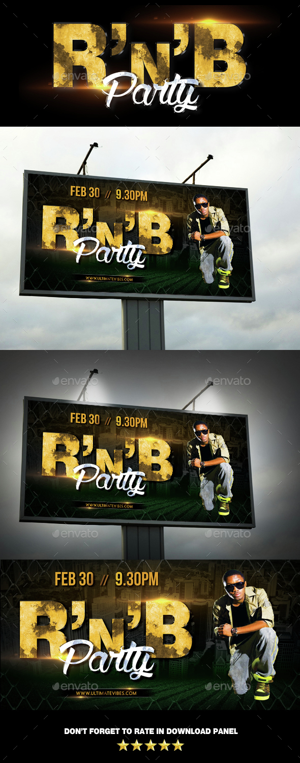 RnB Hip Hop Party Event Outdoor Banner - Signage Print Templates