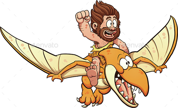 Caveman Riding a Pterodactyl - People Characters