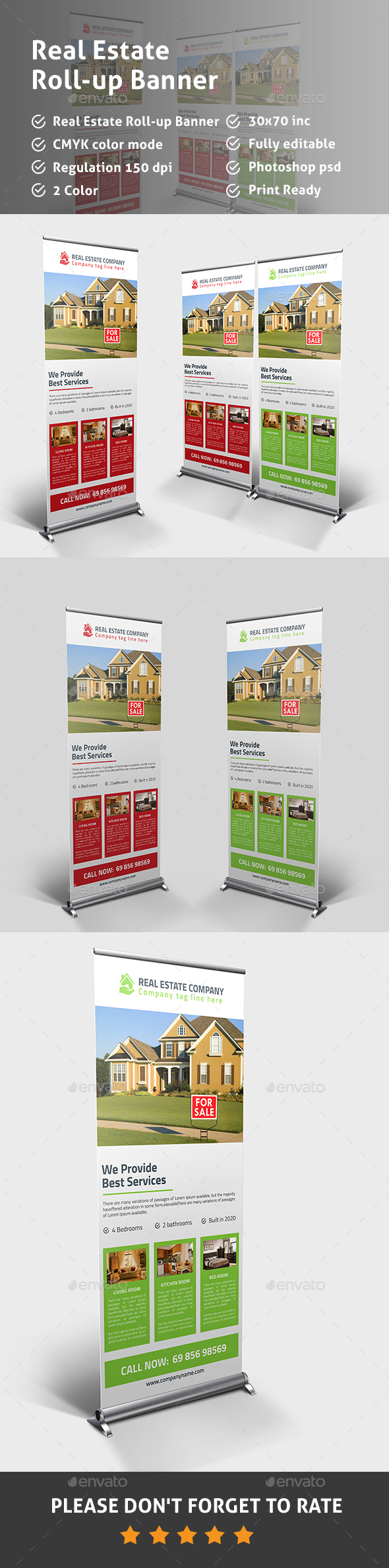 Real Estate Rollup Banner PSD Template - Signage Print Templates