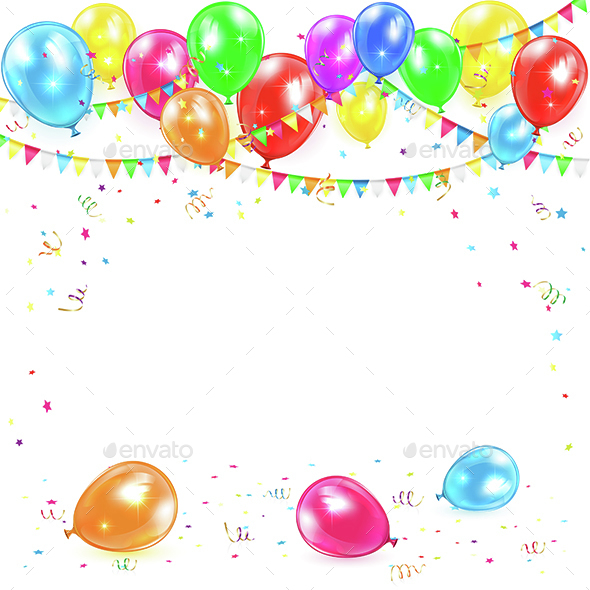 Balloons with Pennants and Confetti - Birthdays Seasons/Holidays