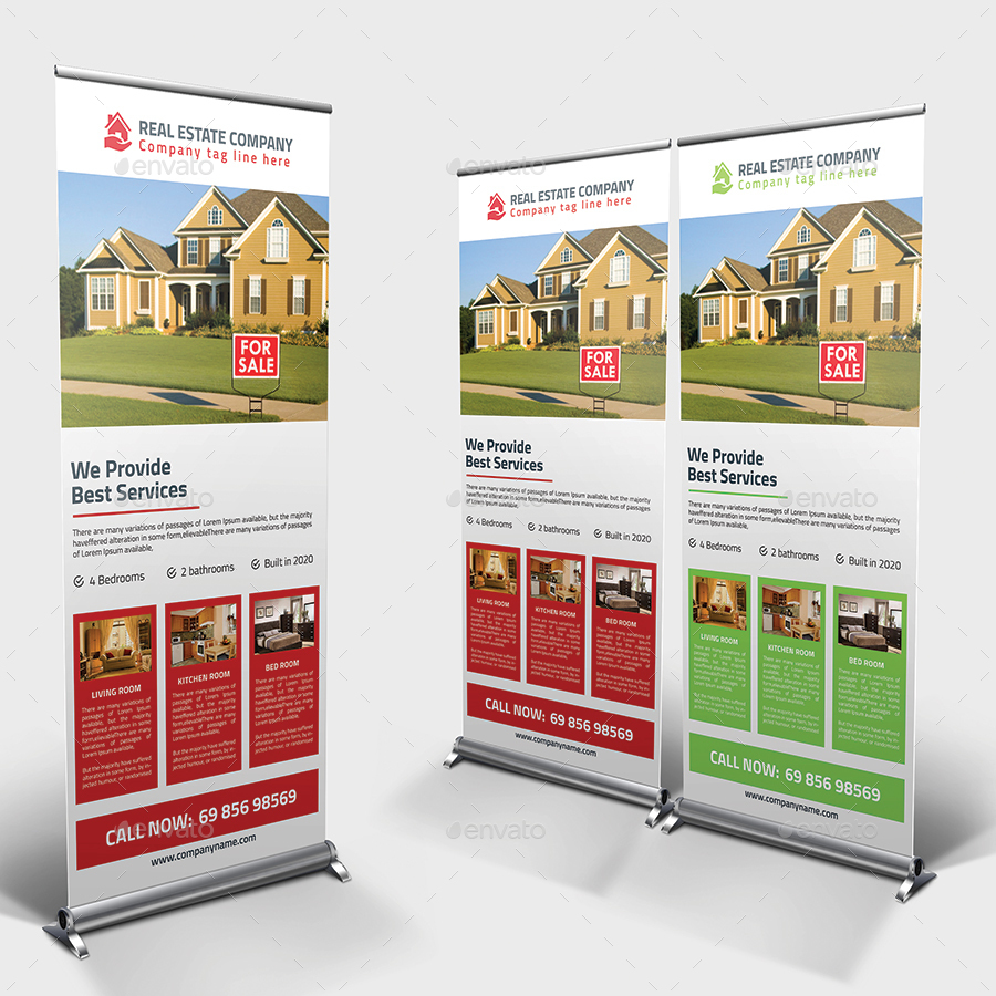 Real Estate Rollup Banner Psd Template By Pixelpick