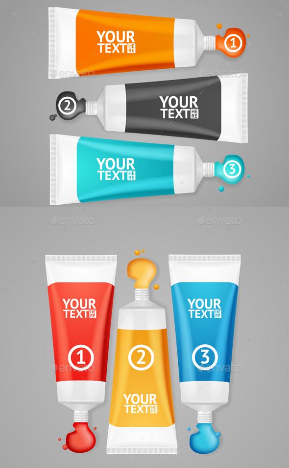 Colorful Paint Tubes Set Menu Banners Option - Concepts Business
