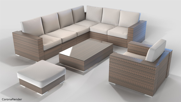 rattan garden furniture set 3docean item for sale - Garden Furniture 3d Model
