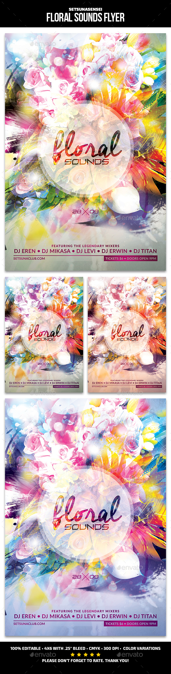 Floral Sounds Flyer - Clubs & Parties Events