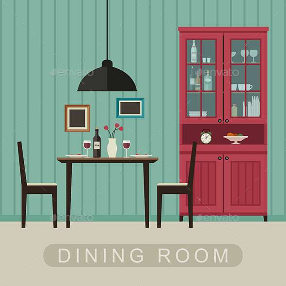 Dining Room Interior - Food Objects