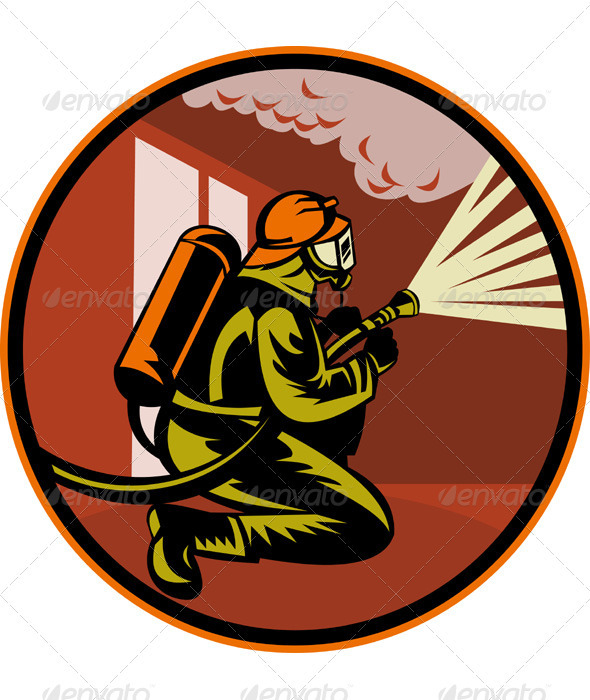 Fireman Firefighter Holding Aiming Fire Hose - People Characters
