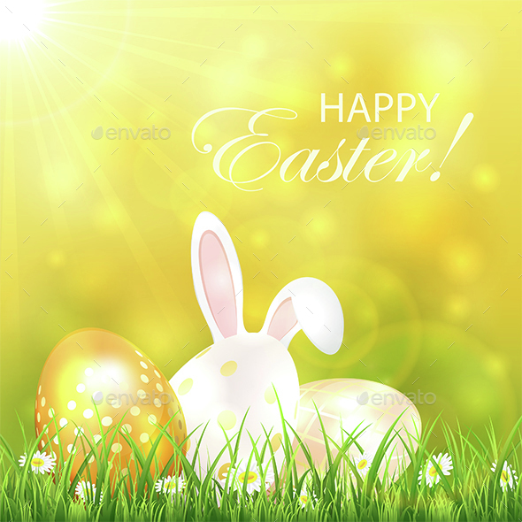 Easter Background with Eggs and Rabbit - Seasons Nature