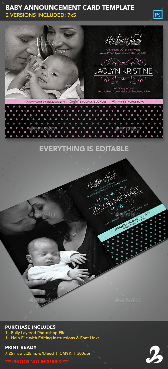 Baby Announcement Card Template - Cards & Invites Print Templates